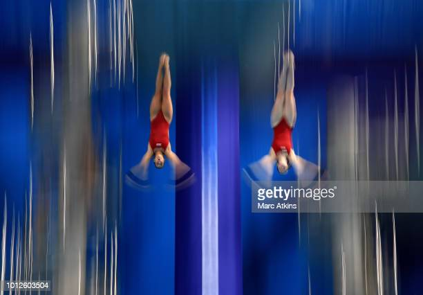 Maria Kurjo and Elena Wassen of Germany compete in the Women's Synchronised 10m Platform Final during the diving on Day six of the European...