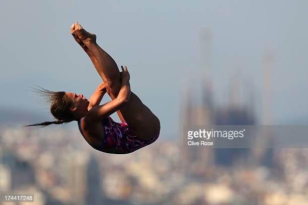 Maria Kurjo of Germany competes in the Women's 10m Platform Diving final on day six of the 15th FINA World Championships at Piscina Municipal de...