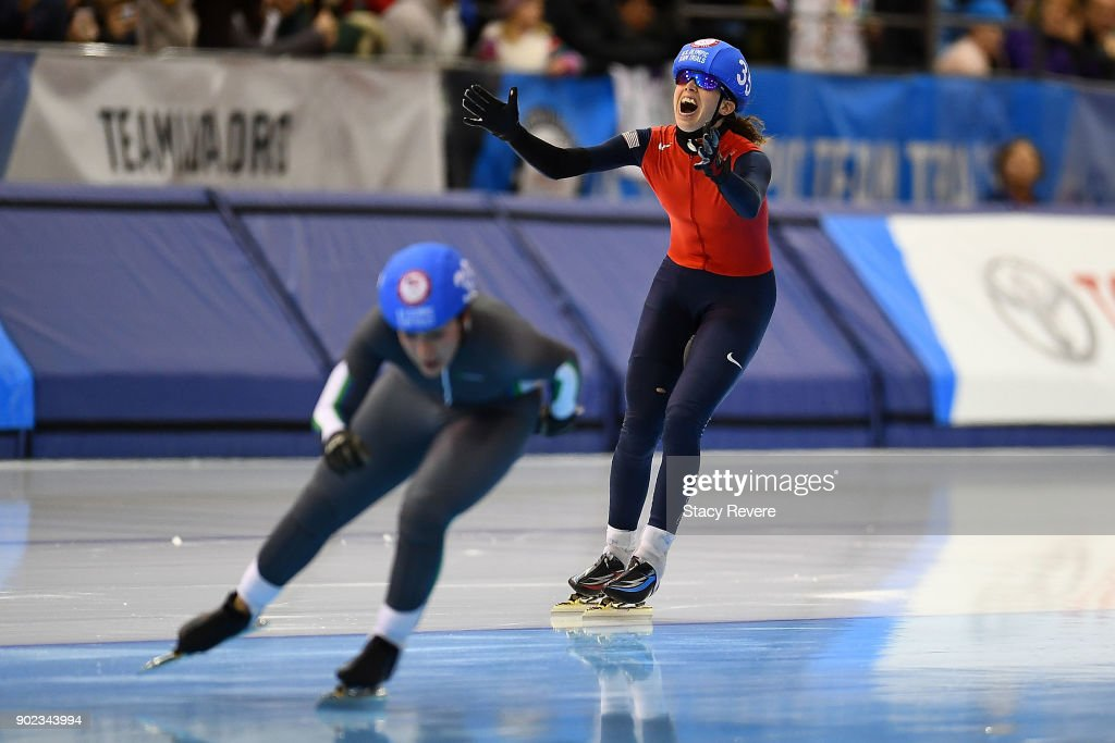 Maria Lamb reacts after winning the Ladies Mass Start event during the Long Track Speed Skating Olympic Trials at the Pettit National Ice Center on January 7, 2018 in Milwaukee, Wisconsin.