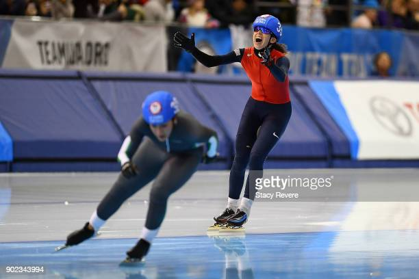 Maria Lamb reacts after winning the Ladies Mass Start event during the Long Track Speed Skating Olympic Trials at the Pettit National Ice Center on...
