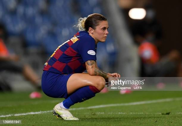 Maria Leon of FC Barcelona looks dejected following her sides defeat in the UEFA Women's Champions League Semi Final between VfL Wolfsburg and FC...