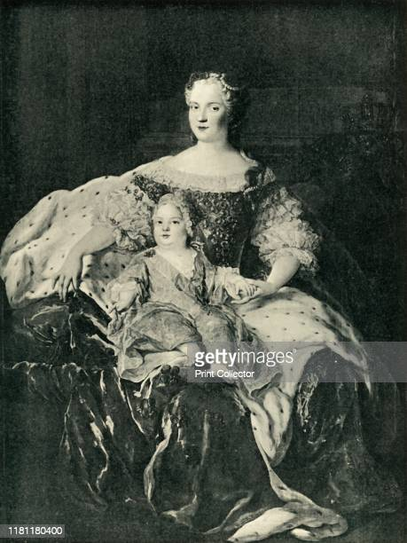 Maria Leszczynska and the Dauphin circa 1730 'Marie Leckzinska et Le Dauphin' Portrait of Queen Maria Leszczynska of France and her infant son Louis...