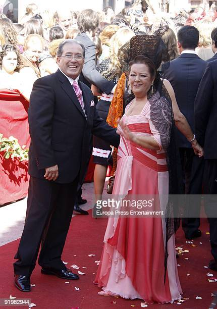 Maria Linares Rodriguez attends the wedding of Pastora Soler and Francis Vinolo on October 17 2009 in Seville Spain