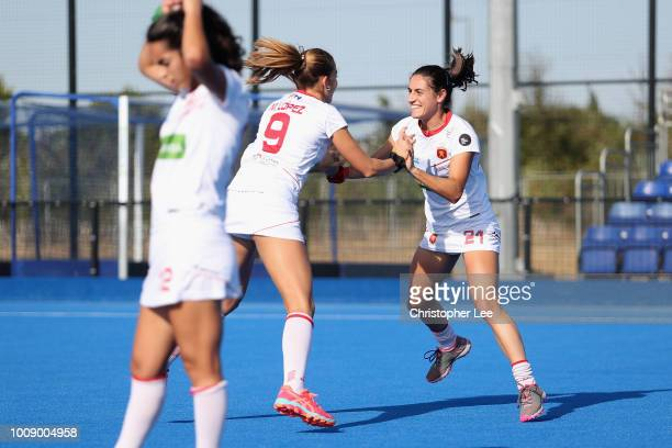 Maria Lopez of Spain and Beatriz Perez of Spain warm up during the Quarter Final game between Germany and Spain of the FIH Womens Hockey World Cup at...