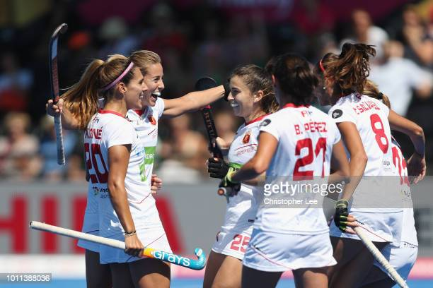 Maria Lopez of Spain celebrates scoring their first goal during the Third Place Play Off game between Australia and Spain of the FIH Womens Hockey...