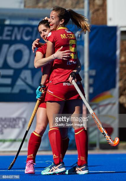 Maria Lopez of Spain celebrates with her teammate after score the second goal during the match between Spain and Ghana during day four of the Hockey...