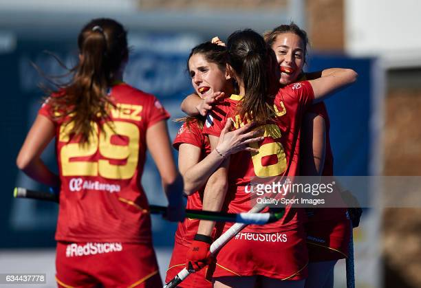Maria Lopez of Spain celebrates with her teammates after score the second goal during the match between Spain and Ghana during day four of the Hockey...
