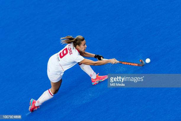Maria Lopez of Spain in action during the crossover game between Belgium and Spain of the FIH Womens Hockey World Cup at Lee Valley Hockey and Tennis...