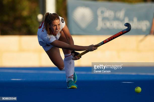 Maria Lopez of Spain passes the ball in the back line during game five of the International Test match series between the Australian Hockeyroos and...