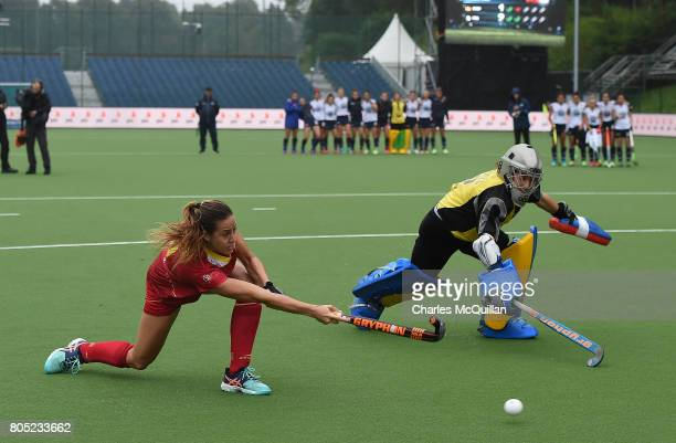 Maria Lopez of Spain scores during a penalty shoot out during the Fintro Hockey World League SemiFinal 5/8th place playoff game between Italy and...