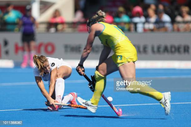 Maria Lopez of Spain scores their first goal during the Third Place Play Off game between Australia and Spain of the FIH Womens Hockey World Cup at...