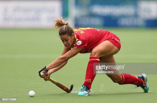 Maria Lopez of Spain shoots during the Fintro Hockey World League 5/8 place playoff game between Spain and Italy on July 1 2017 in Brussels Belgium