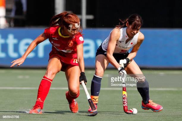 Maria Lopez of Spain Women Yu Asai of Japan Women during the Rabobank 4Nations trophy match between Spain v Japan at the Hockeyclub Breda on June 27...