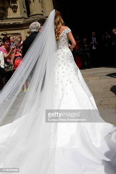 Maria Lorente attend her wedding with Juventus football player Fernando Llorente at Santa Maria del Coro Basilica on June 20 2015 in San Sebastian...