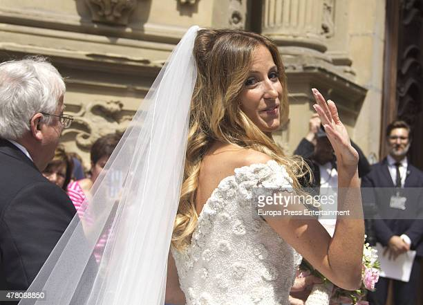 Maria Lorente attends her wedding with Juventus football player Fernando Llorente at Santa Maria del Coro Basilica on June 20 2015 in San Sebastian...