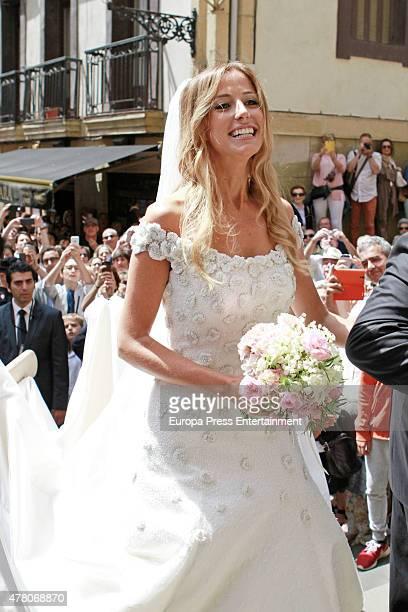 Maria Lorente attends her wedding with Juventus football player Fernando Llorente at Santa Maria del Coro Basilica on June 20 2015 in San Sebastian...