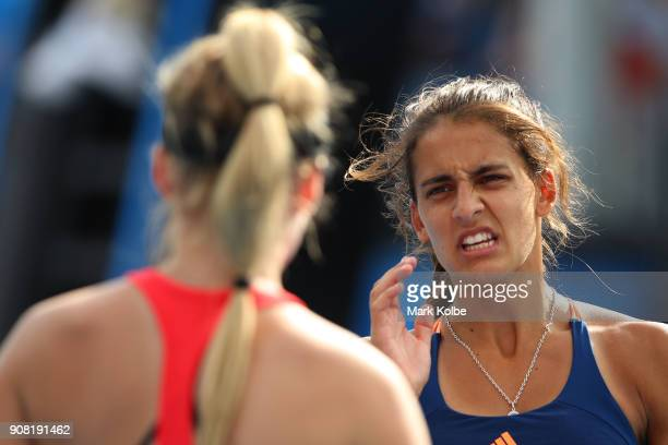 Maria Lourdes Carle of Argentina and Layne Sleeth of Canada compete in their doubles match against Valentina Ivanov of New Zealand and Hong Yi Cody...