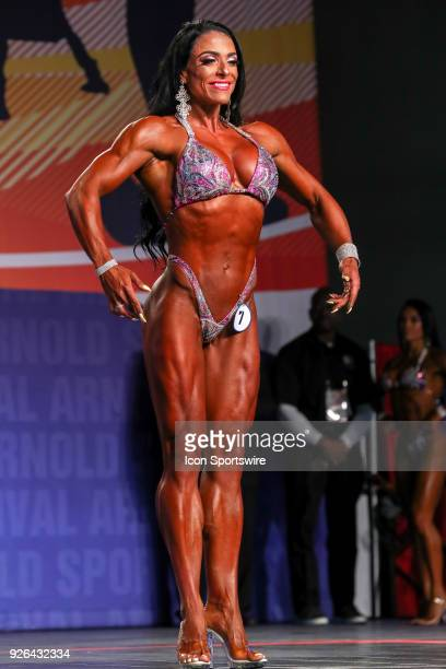 Maria Luisa Baeza Diaz competes in Figure International as part of the Arnold Sports Festival on March 2 at the Greater Columbus Convention Center in...