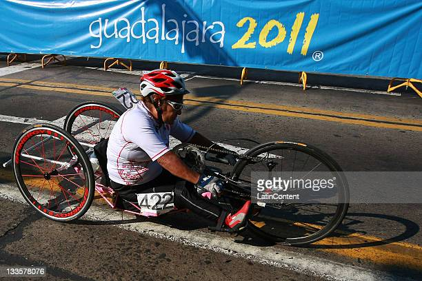 Maria Luisa Morales of Mexico competes in the Women's Road Race H34 during Day 7 of the 2011 Parapan American Games at Parapan American Road Cycling...