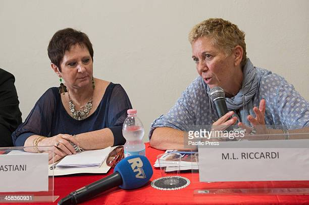 Maria Luisa Riccardi restorer of Codex and Maria Letizia Sebastiani of ICRCPAL Director during the press conference for the return of the Purpureus...