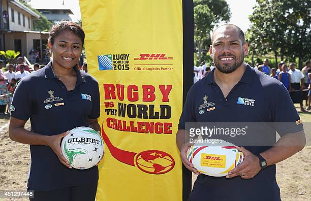 Maria Lutua Fijian netball international poses with John Afoa the All Black prop during the DHL's Rugby v the World Challenge at Raiwaga Rugby Club...