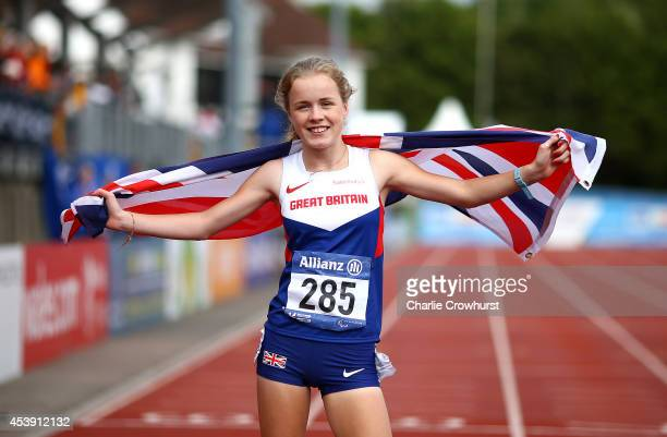 Maria Lyle of Great Britain celebrates after winning the Womens 200m T35 final during day three of the IPC Athletics European Championships at...