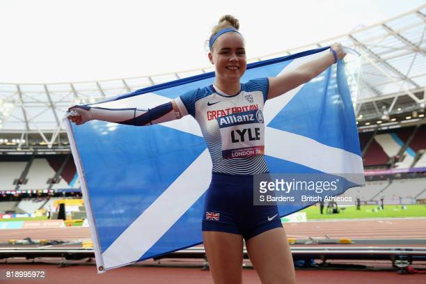 Maria Lyle of Great Britain celebrates winning a bronze medal in the Women's 100m T35 Final during Day Six of the IPC World ParaAthletics...