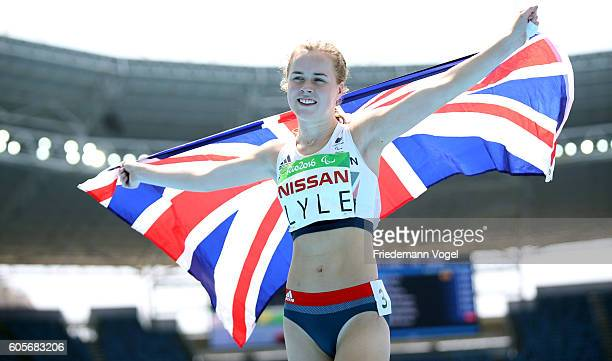 Maria Lyle of Great Britain celebrates winning the bronze medal in the Women's 100m T35 on day 7 of the Rio 2016 Paralympic Games at the Olympic...