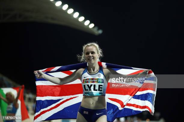 Maria Lyle of Great Britain celebrates winning the Women's 200m T35 during Day Eight of the IPC World Para Athletics Championships 2019 Dubai on...