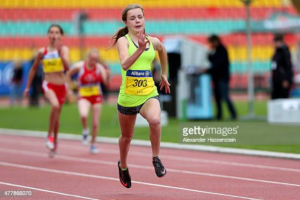Maria Lyle of Great Britain competes in the 100m finale during the IPC Athletics Grand Prix Berlin 2015 at FriedrichLudwigJahnSportpark on June 20...