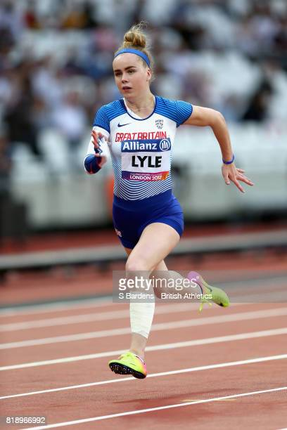 Maria Lyle of Great Britain competes in the Women's 100m T35 Final during Day Six of the IPC World ParaAthletics Championships 2017 London at London...