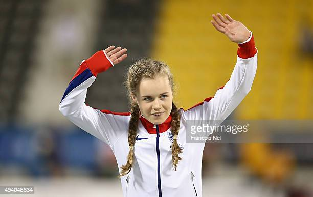 Maria Lyle of Great Britain salutes the crowd after winning silver in the women's 200m T35 final during the Evening Session on Day Three of the IPC...