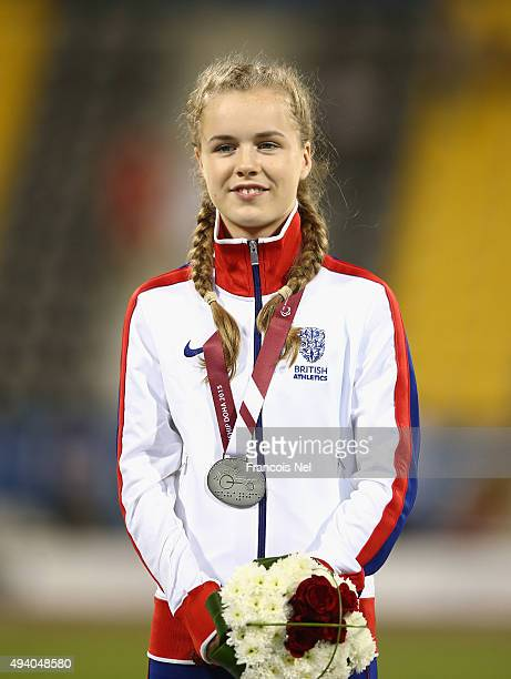 Maria Lyle of Great Britain stands with her silver after the women's 200m T35 final during the Evening Session on Day Three of the IPC Athletics...