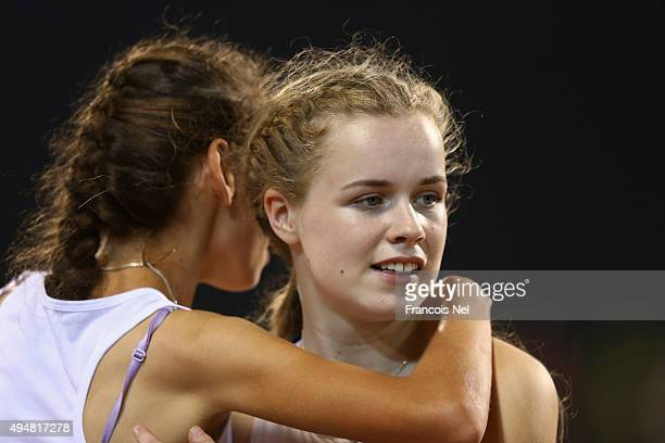 Maria Lyle of Great Britain wins silver in the women's 100m T35 final during the Evening Session on Day Eight of the IPC Athletics World...