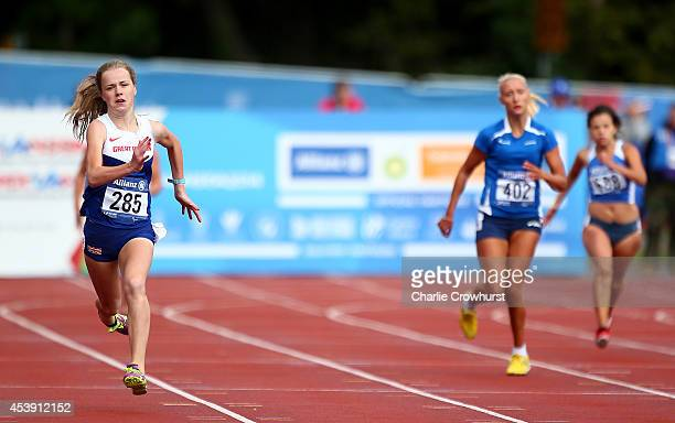 Maria Lyle of Great Britain wins the Womens 200m T35 final during day three of the IPC Athletics European Championships at Swansea University Sports...