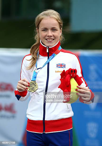Maria Lyle of Great Britain with her gold medal after winning the Womens 200m T35 final during day three of the IPC Athletics European Championships...