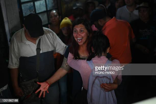 Maria Magdalena Othon, mother of a seven-year-old girl whose body was found over the week-end with signs of torture, reacts during her daughter's...