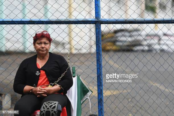 Maria Magdalena Saldana declared a hunger strike and has chained herself outside the 'El Chipote' prison in Managua to demand justice for her son...