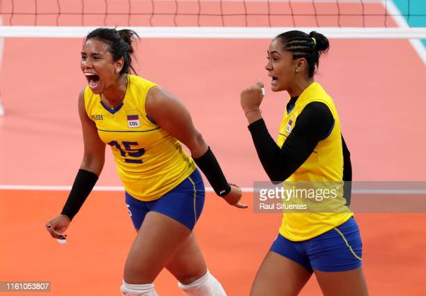 Maria Marin of Colombia celebrates during the women's volleyball final match between Colombia and Dominic Republic at Polideportivo Callao of Villa...