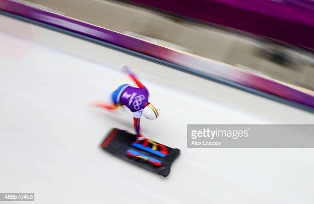 Maria Marinela Mazilu of Romania makes a run during a Women's Skeleton training session on Day 4 of the Sochi 2014 Winter Olympics at the Sanki...