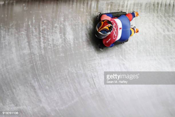 Maria Marinela Mazilu of Romania makes a run during the Women's Skeleton on day eight of the PyeongChang 2018 Winter Olympic Games at Olympic Sliding...