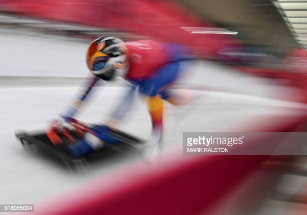 TOPSHOT Maria Marinela Mazilu of Roumania starts her womens skeleton training session at the Olympic Sliding Centre during the Pyeongchang 2018...