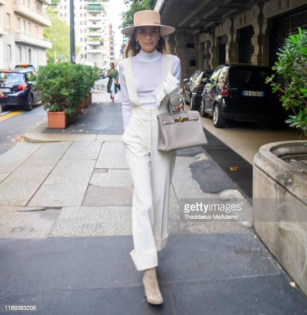 Maria Masoud is seen during the Milan Fashion Week Spring/Summer 2020 on September 18, 2019 in Milan, Italy.