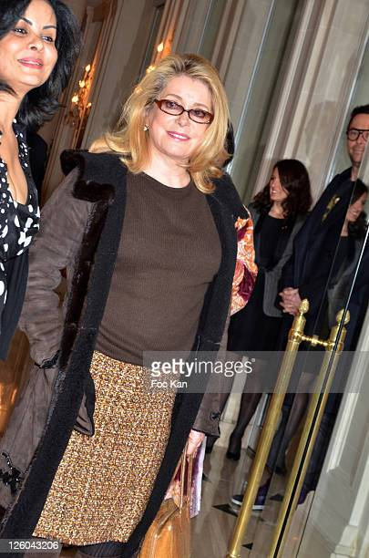 Maria Maylin from the CIRA and actress Catherine Deneuve attend the 'Charity Event For Children in Haiti' hosted by the CIRA at the Hotel Bristol on...