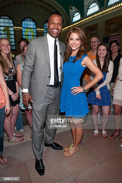 Maria Menounos and AJ Calloway visit 'Extra' at Michael Jordan's The Steak House NYC in Grand Central Terminal on May 29 2013 in New York City