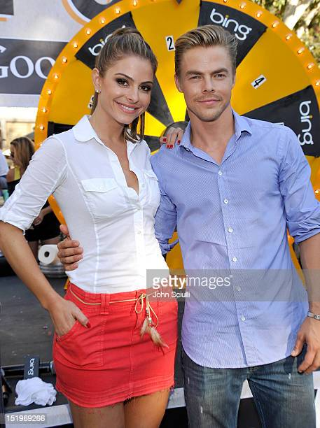 Maria Menounos and Derek Hough attend the challenge the nation to 'Bing It On' at The Grove on September 13 2012 in Los Angeles California