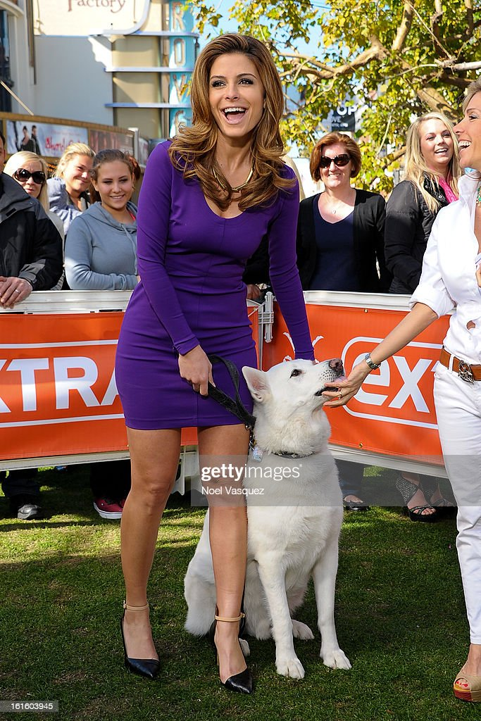 Maria Menounos and her dog Apollo visit Extra at The Grove on February 12, 2013 in Los Angeles, California.