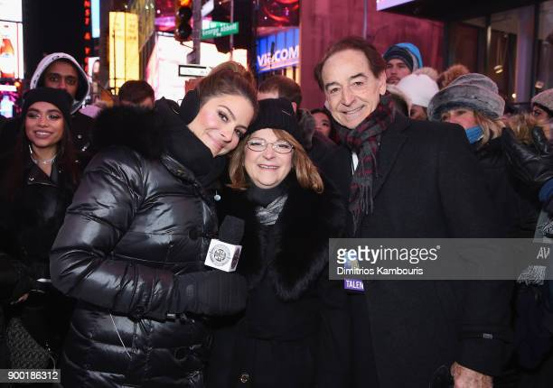 Maria Menounos and her parents Litsa Menounos and Constantinos Menounos attend Maria Menounos and Steve Harvey Live from Times Square at Marriott...