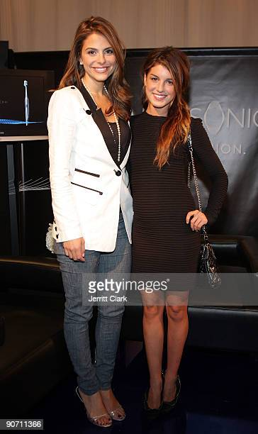Maria Menounos and Shenae Grimes attends the Caravan fashion show presented by OralB Pulsonic during Style360 Fashion Week at the Metropolitan...