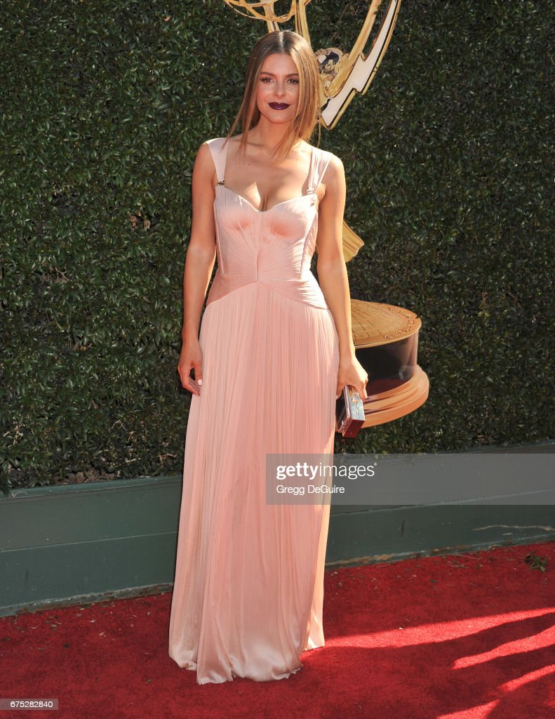 Maria Menounos arrives at the 44th Annual Daytime Emmy Awards at Pasadena Civic Auditorium on April 30, 2017 in Pasadena, California.